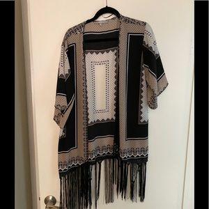 🔴sweet rain black white and brown kimono size L